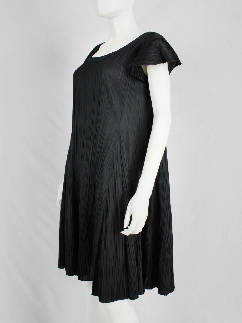 Issey Miyake Pleats Please black babydoll dress with fine pleats