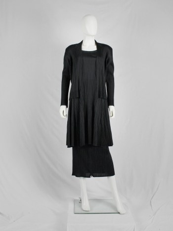 Issey Miyake Pleats Please black open cardigan with folded hems