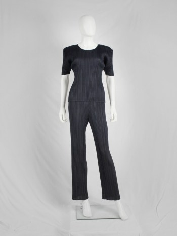 Issey Miyake Pleats Please dark blue trousers with fine pleating