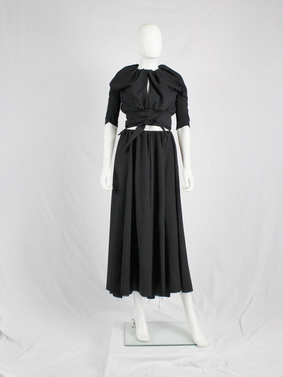 vaniitas Rick Owens black cropped jacket with tie-front and gathered neckline 1575