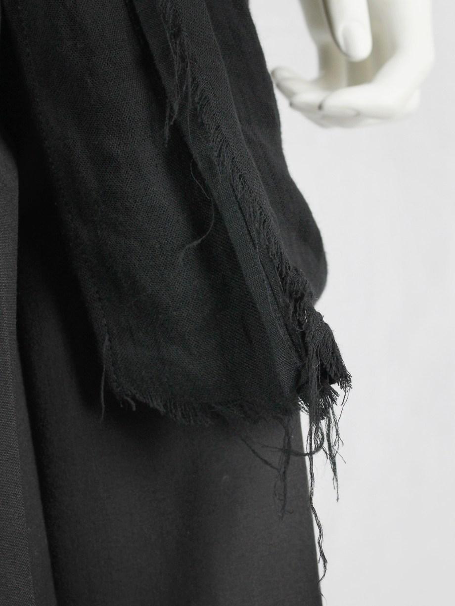 Yohji Yamamoto long black asymmetric blazer with frayed finish