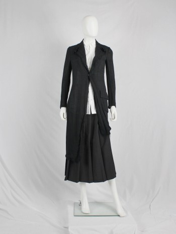 Yohji Yamamoto long black asymmetric blazer with frayed finish