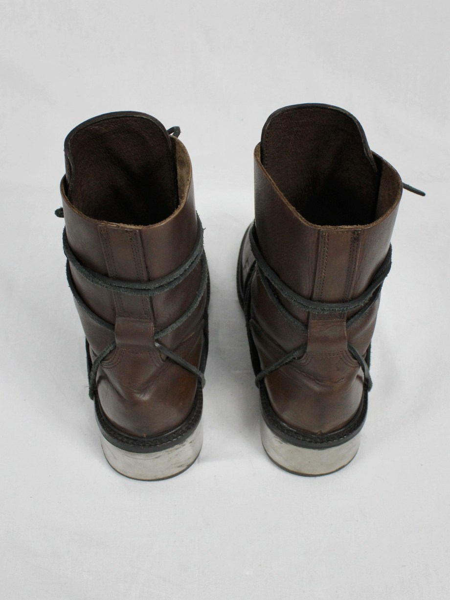 Dirk Bikkembergs brown tall boots with laces through the metal heel (40) — mid 90's