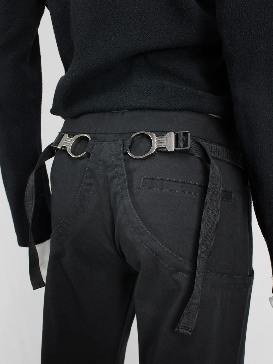 Dirk Bikkembergs black trousers with mountaineering belts — spring 2005