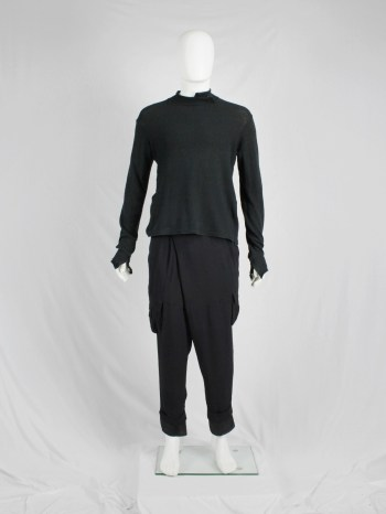 Y's for men black jumper with deconstructed neckline — 1990's