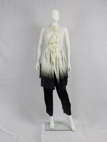 Ann Demeulemeester white and black ombre draped shirtdress with straps — spring 2007
