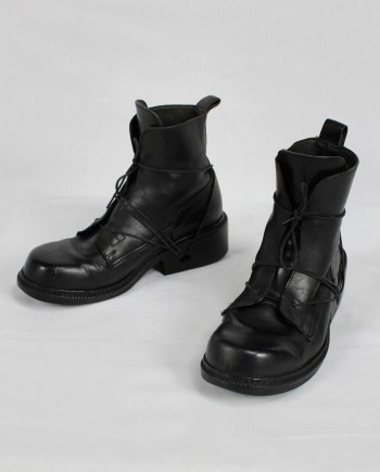 Dirk Bikkembergs black tall boots with laces through the soles (41) — late 90's