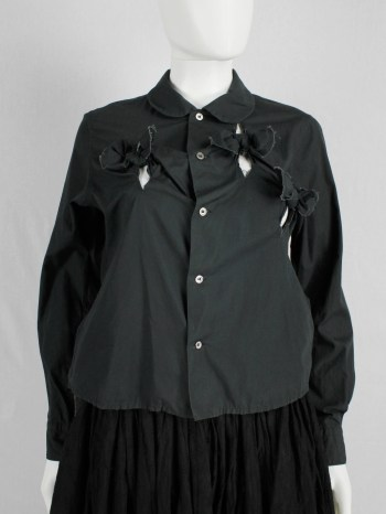 Comme des Garçons black shirt with slits and three bows — spring 2002