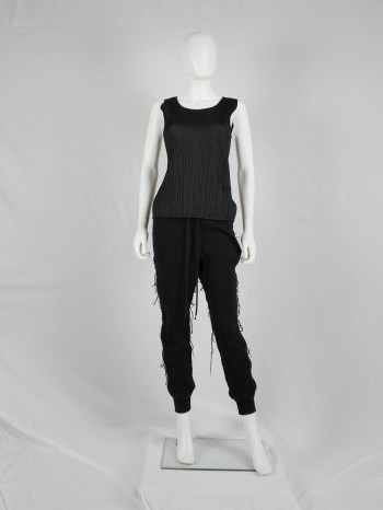 Issey Miyake Pleats Please black pleated sleeveless top