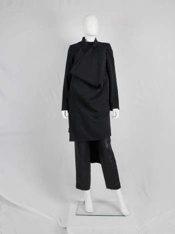 A.F. Vandevorst black asymmetric coat with draped volume