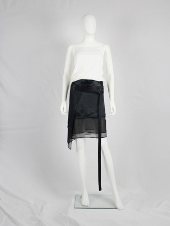 Ann Demeulemeester black skirt with wrapped belts and sheer trim