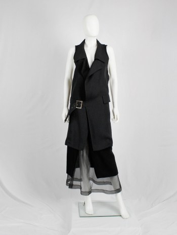 Limi Feu black long belted waistcoat with open back