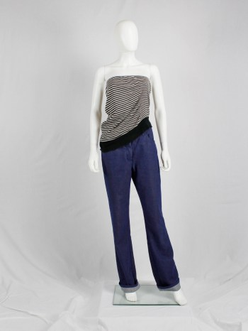Maison Martin Margiela striped tube top stretched out on one side — spring 2005