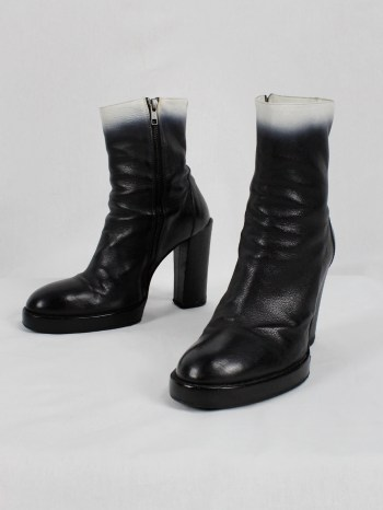 Ann Demeulemeester black platform boots with white ombre — fall 2012