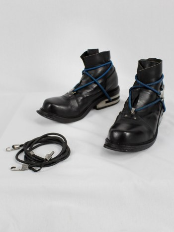 Dirk Bikkembergs black mountaineering boots with metal heel and elastics (46) — fall 1996