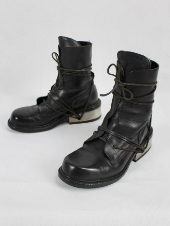 Dirk Bikkembergs black tall boots with laces through the metal heel (41) — mid 90's