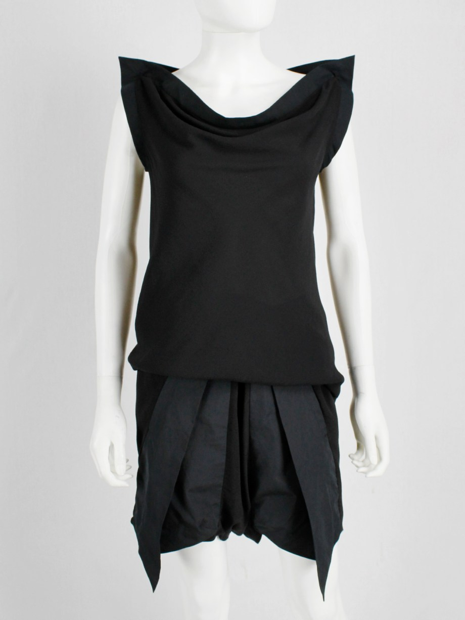 Rick Owens RELEASE black set of geometric top and shorts — spring 2010