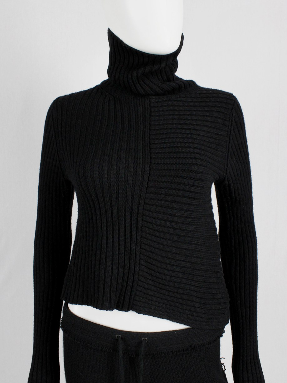 Y's Yohji Yamamoto black turleneck jumper with drooping side and extra long sleeves
