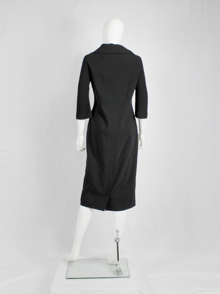 Yohji Yamamoto black twinset-inspired dress with fabric covered buttons
