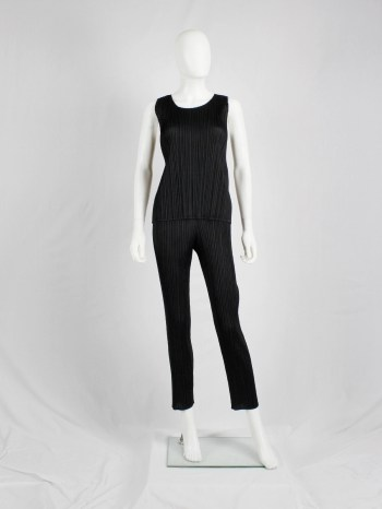 Issey Miyake Pleats Please black pleated trousers with cigarette legs