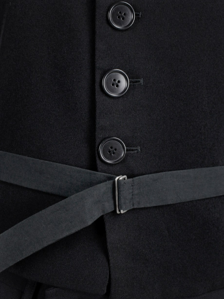 Dirk Bikkembergs black belted waistcoat with slit back — early 90's