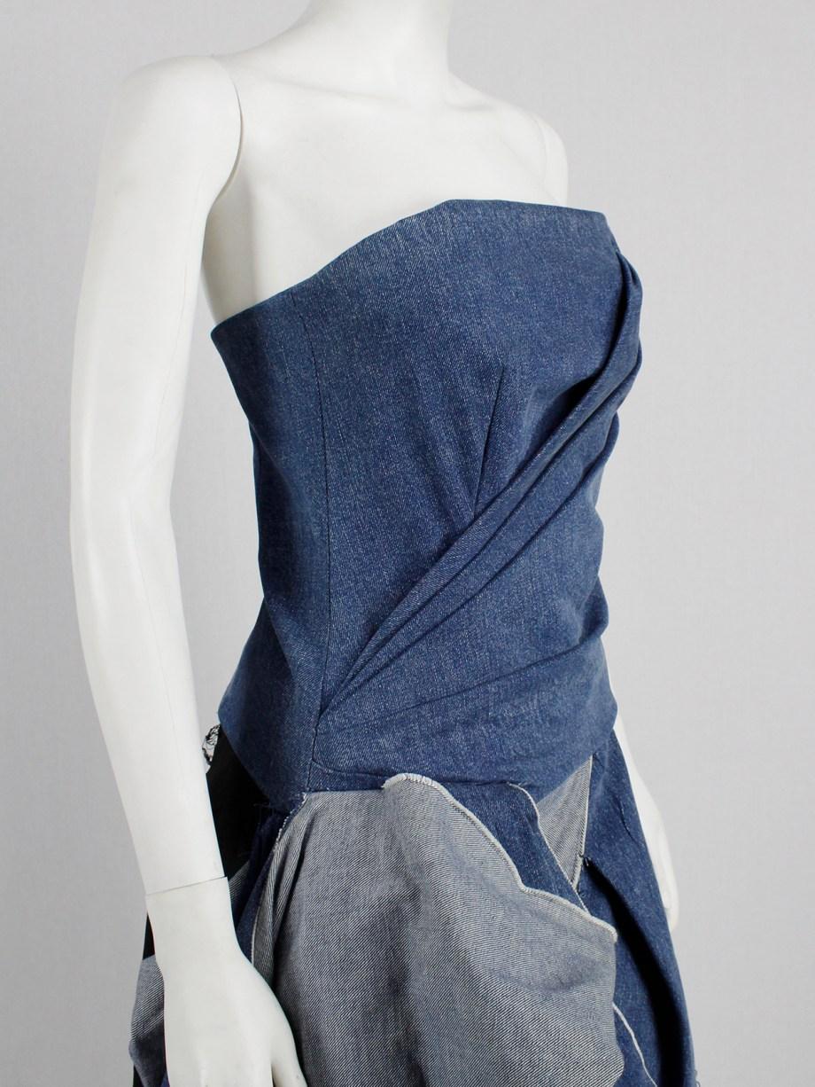 A.F. Vandevorst blue denim bustier with heavy floor-length side drape — spring 2016