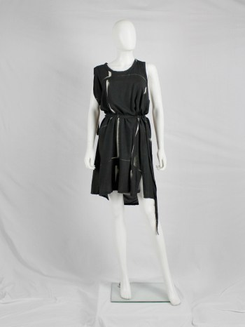 Ann Demeulemeester black dress with beige spraypaint print and straps — spring 2011