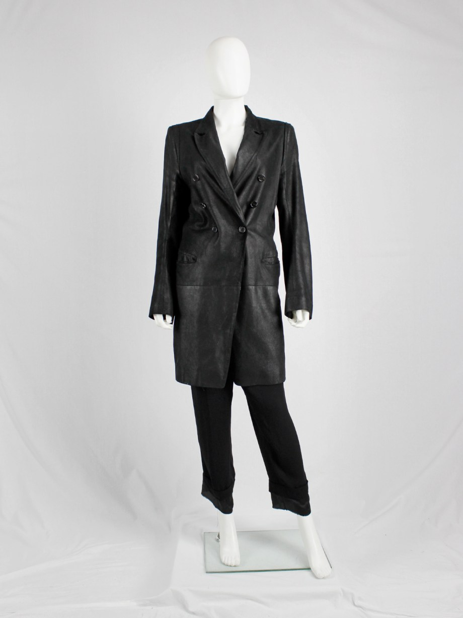 Ann Demeulemeester black leather double breasted coat