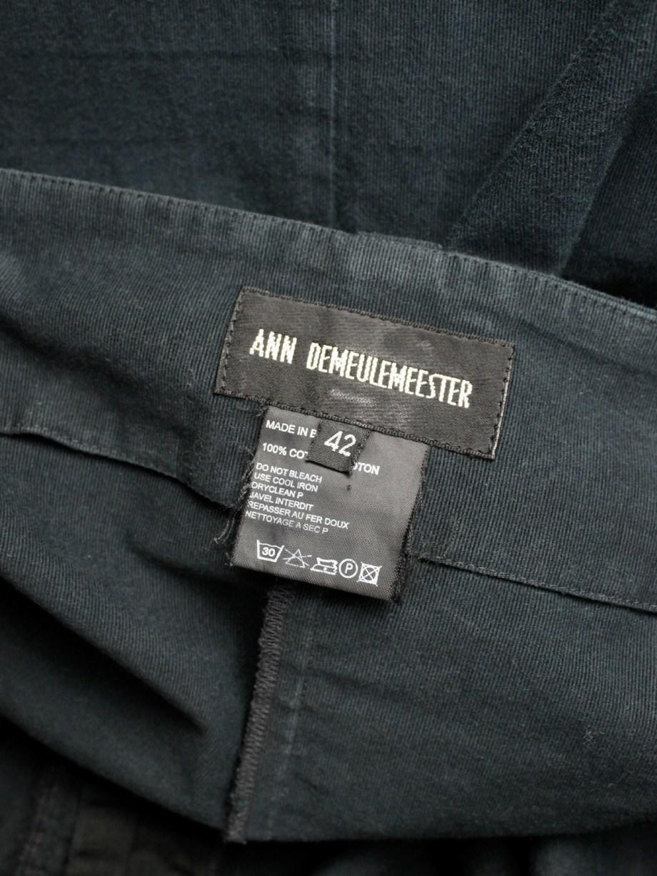 Ann Demeulemeester dark blue skirt with multiple front belt straps — spring 2003