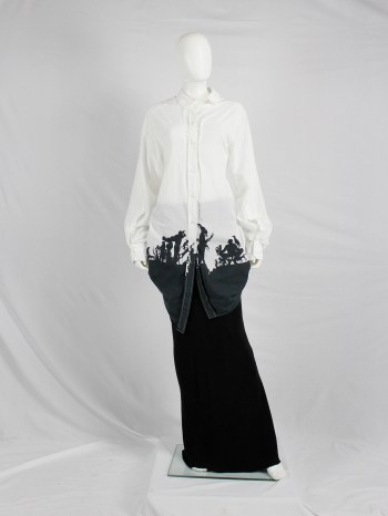Ann Demeulemeester white draped asymmetric shirt with straps and forest print — fall 2007