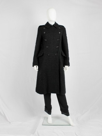 Comme des Garçons tricot black double breasted military-style coat — AD 2005