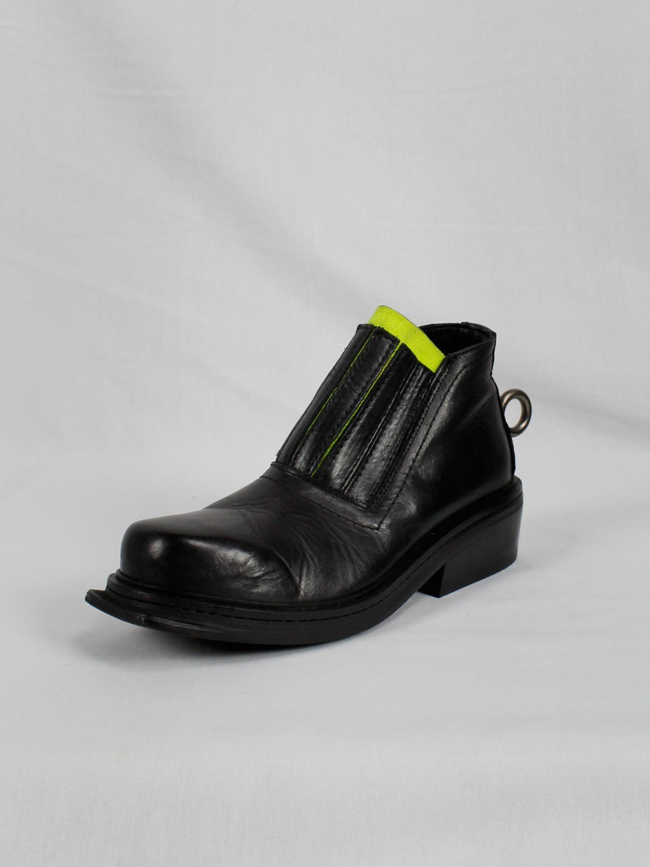 Dirk Bikkembergs black ankle boots with metal ring and neon elastic spring 1998 (16)