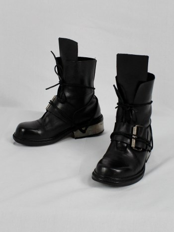 Dirk Bikkembergs black tall boots with belt and laces through the metal heel (40) — late 90's