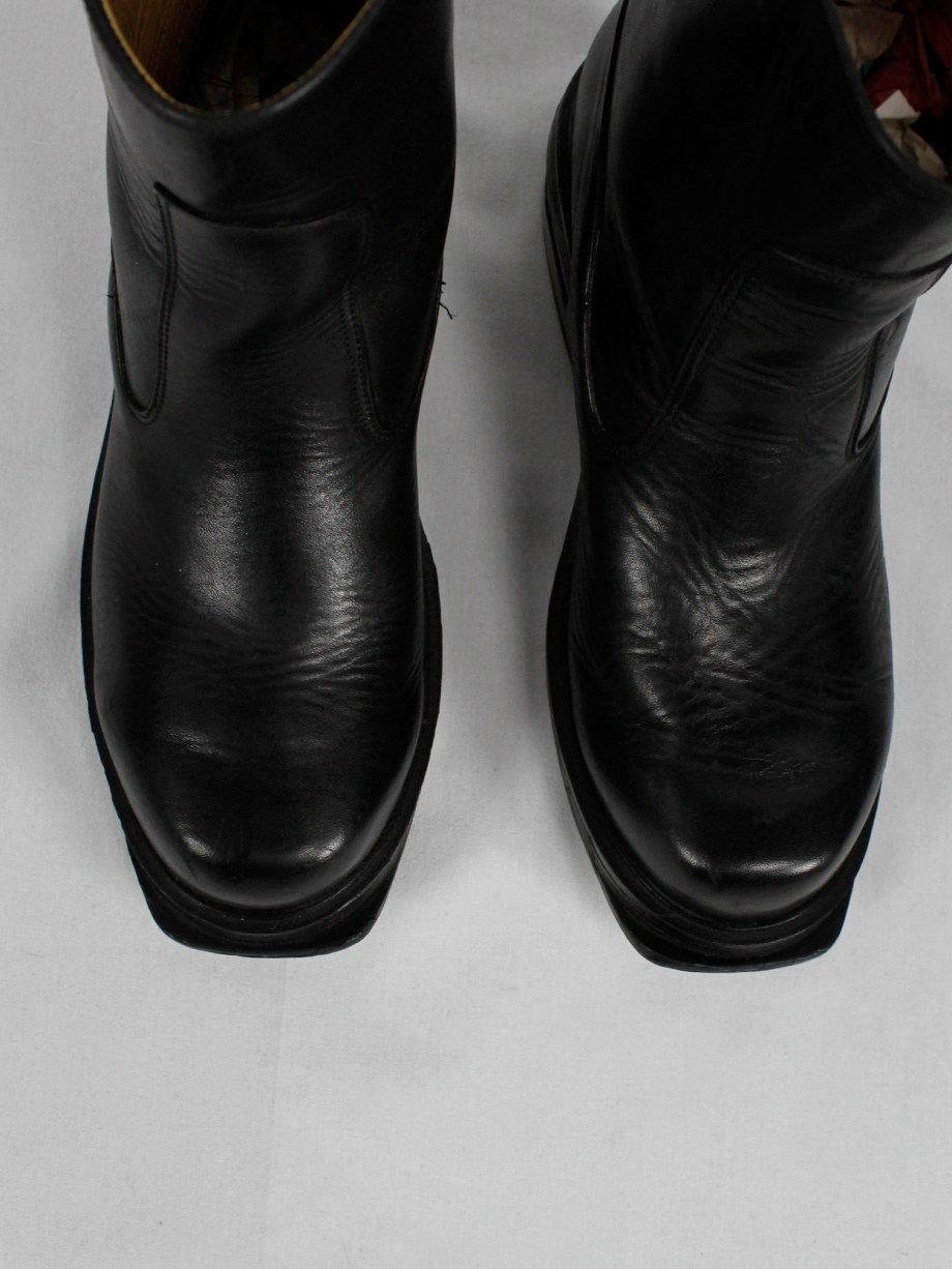 Dirk Bikkembergs black tall boots with metal slit heel and metal pulls (43,5) — mid 90's