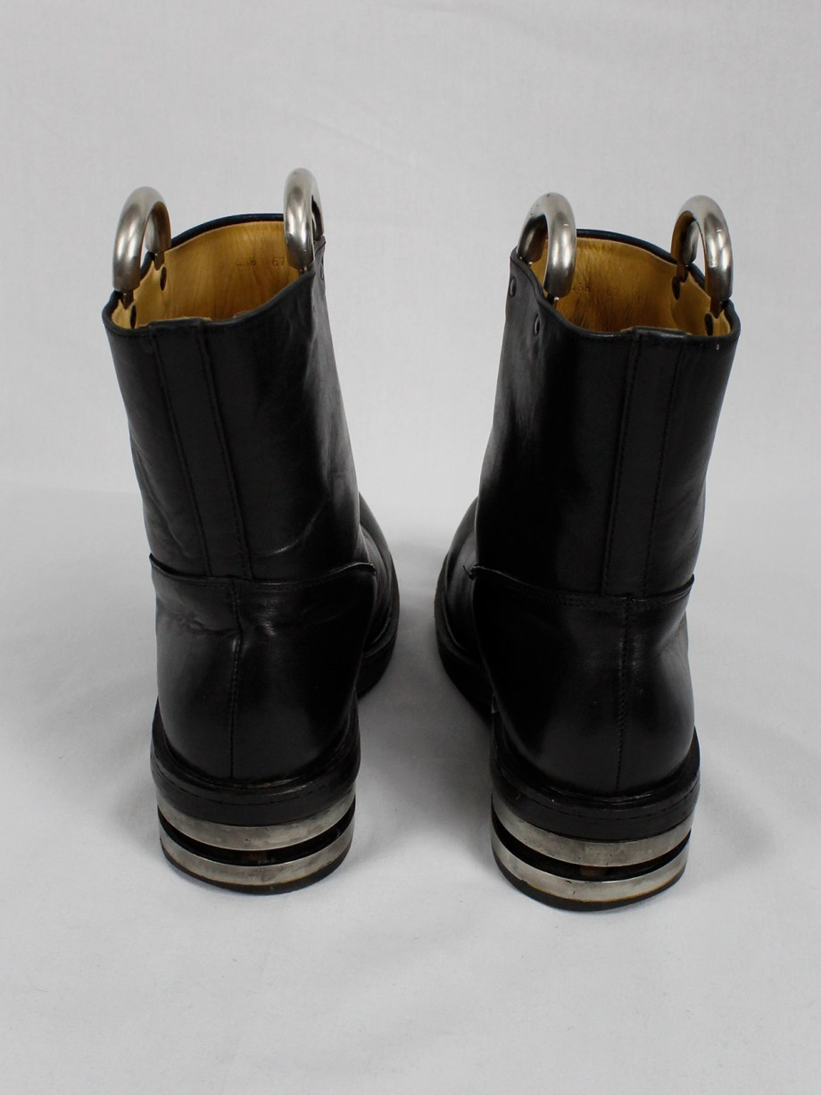 Dirk Bikkembergs black tall boots with metal slit heel and metal pulls 1990s 90s (5)