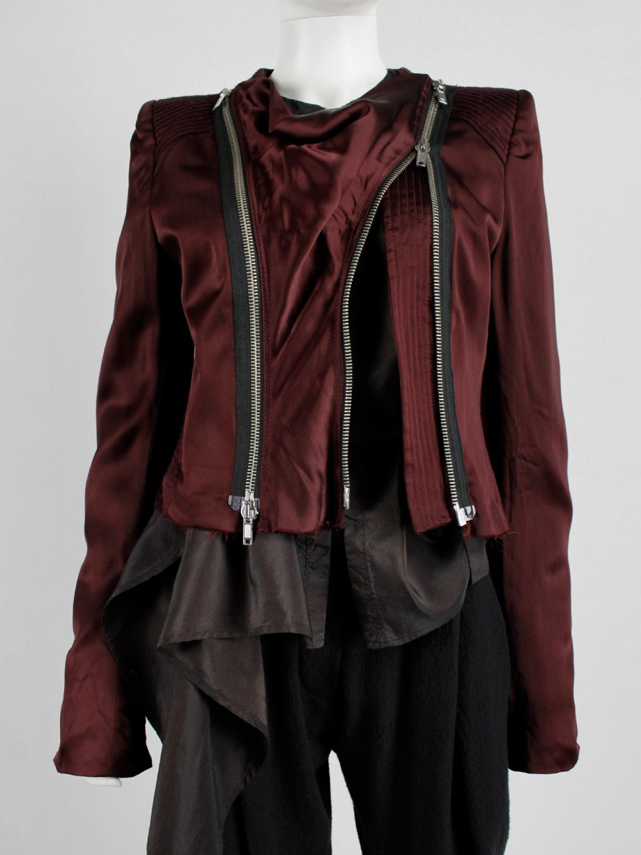 Haider Ackermann burgundy jacket with double front zipper fall 2009 (10)