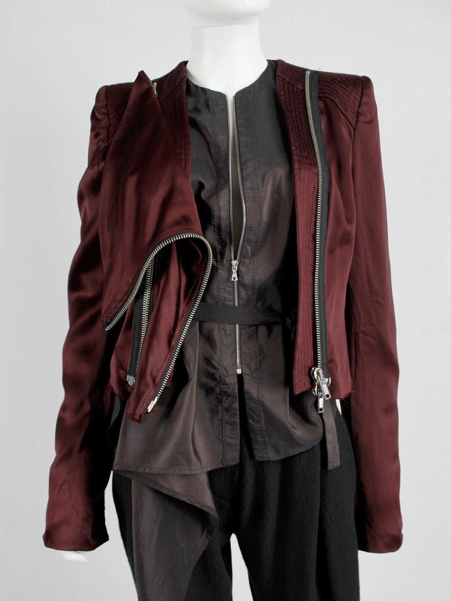 Haider Ackermann burgundy jacket with double front zipper fall 2009 (4)