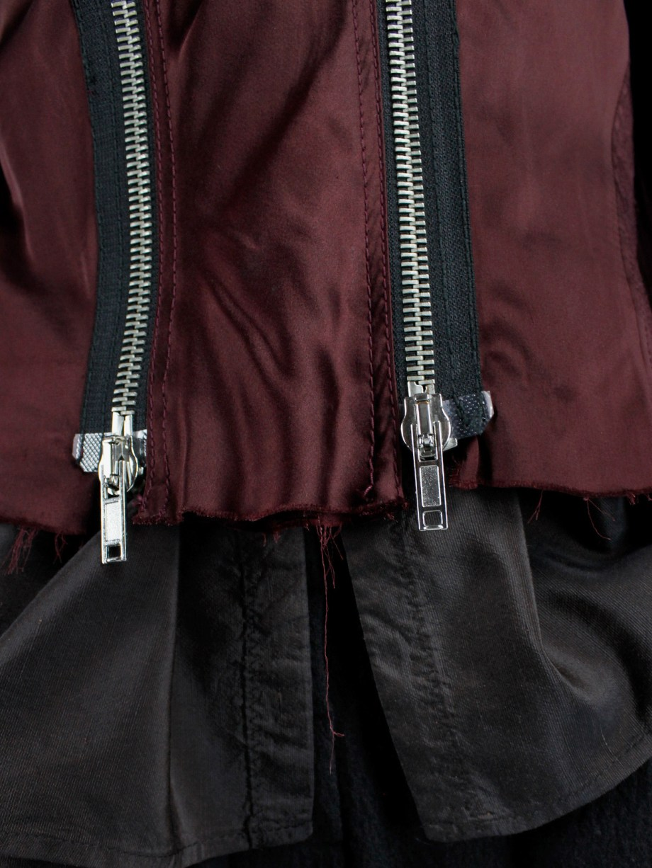 Haider Ackermann burgundy jacket with double front zipper fall 2009 (8)