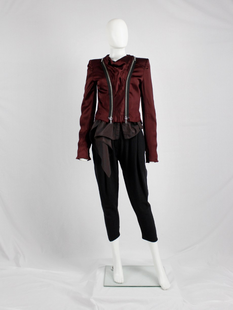 Haider Ackermann burgundy jacket with double front zipper fall 2009 (9)