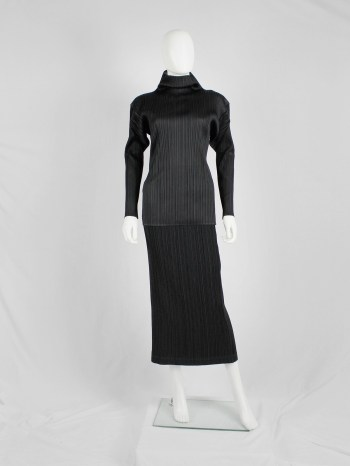 Issey Miyake black maxi skirt with fine pressed pleats