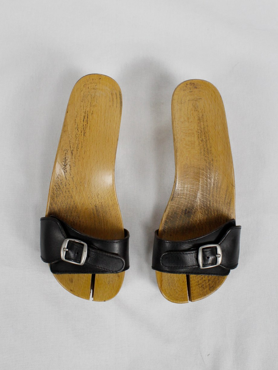 Maison Martin Margiela 6 wood tabi clogs with black leather straps (39) — spring 2005