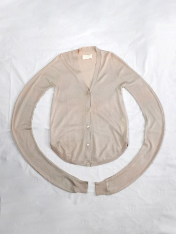 Maison Martin Margiela beige circular cardigan with twisted sleeves — spring 2002