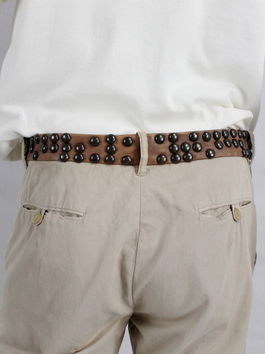 Maison Martin Margiela beige trousers with brown leather studded waist — spring 2007