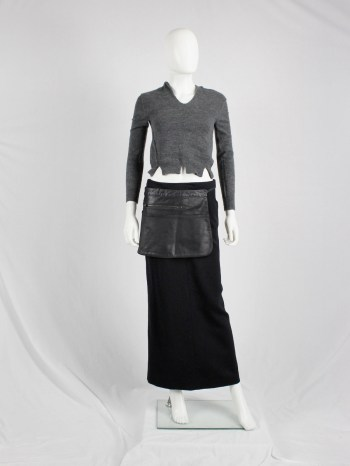Maison Martin Margiela 6 black coated denim waiter's apron with pockets — spring 1997