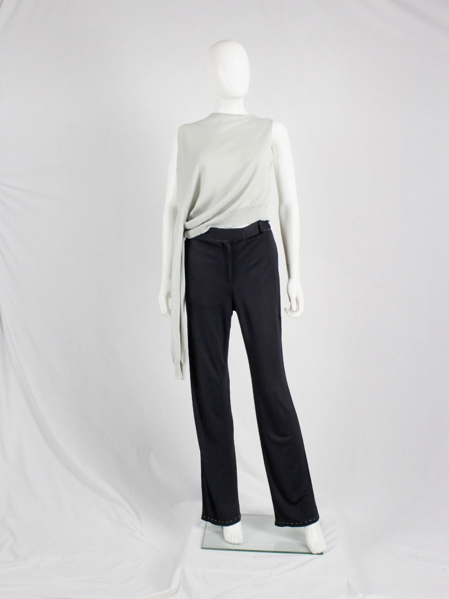Maison Martin Margiela dark blue trousers with white exposed stitches spring 2002 (1)
