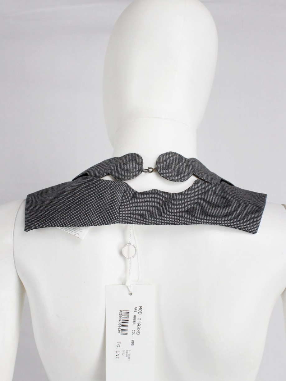 Maison Martin Margiela grey fabric square with cut out pearl necklace — fall 2002
