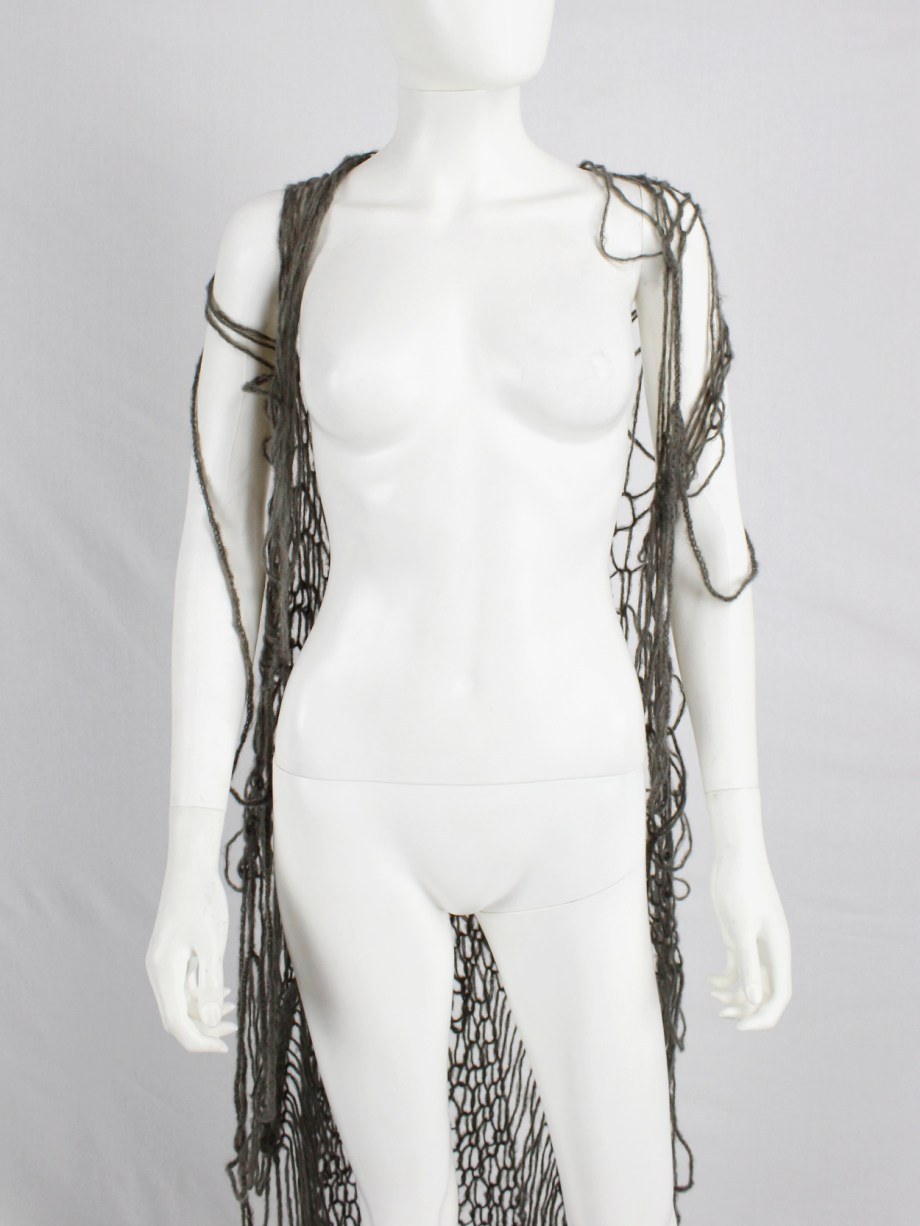 Maison Martin Margiela grey knit spiderweb maxi cardigan — fall 1993