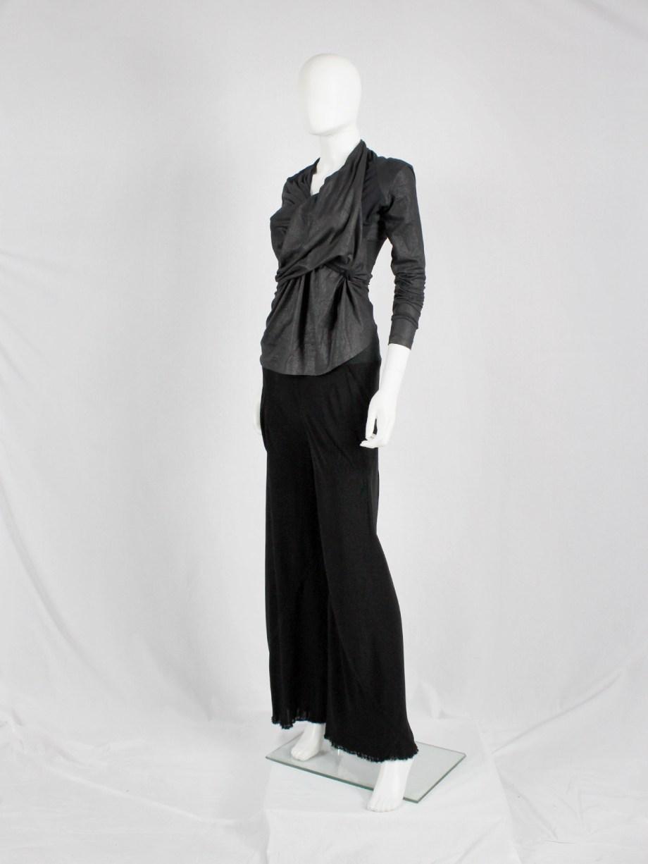 Rick Owens SCORPIO black loose flowy trousers with frayed hem — spring 2005