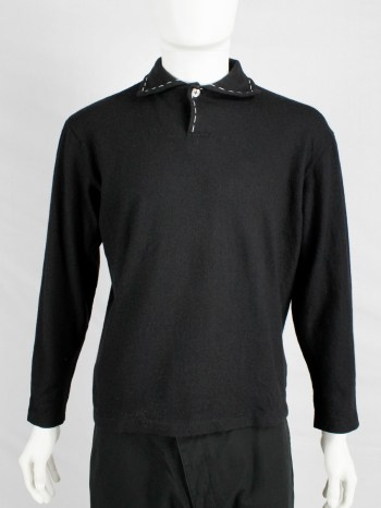 Yohji Yamamoto Y's for men black jumper with white stitches around the collar — 90's