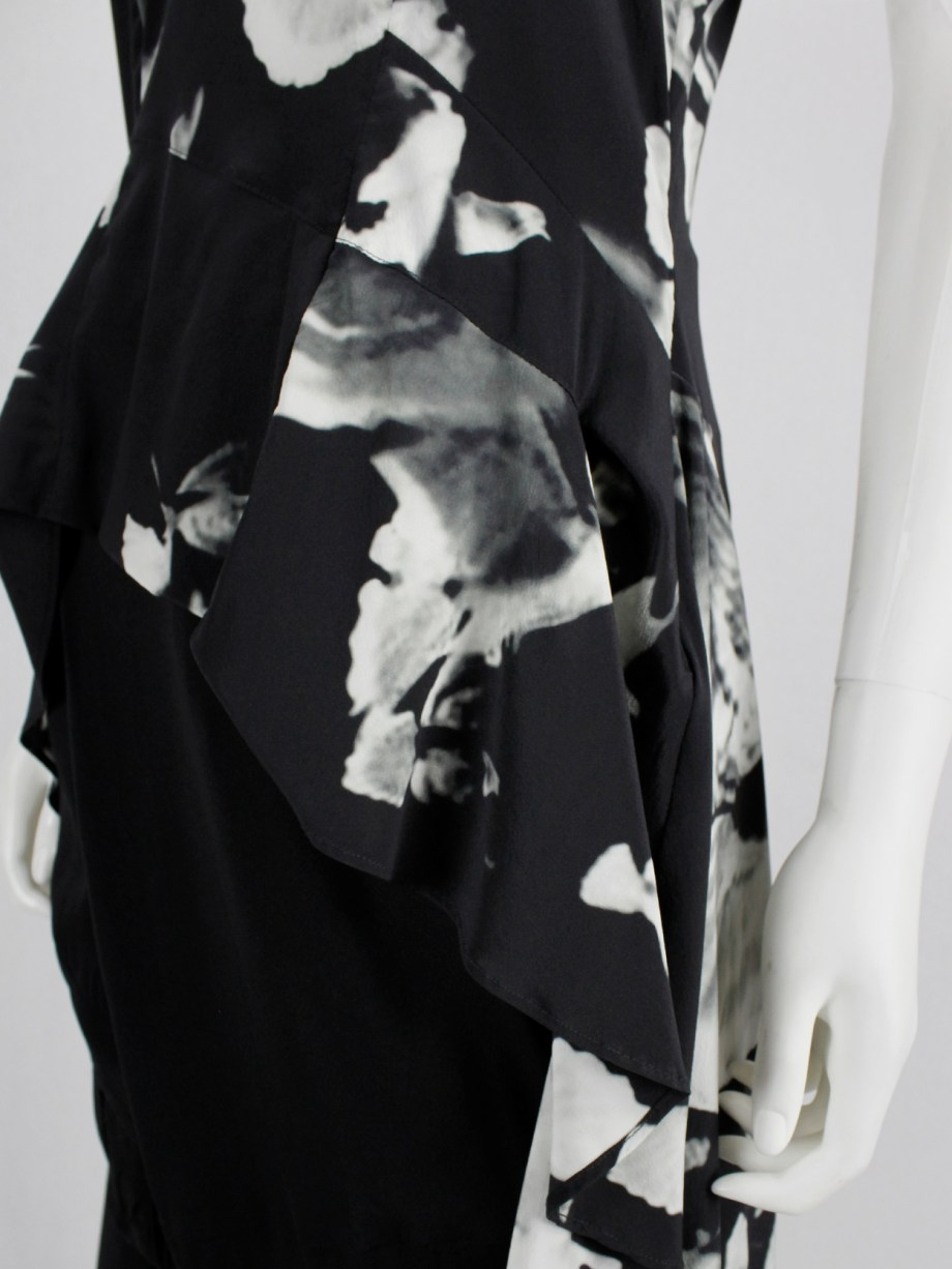 A.F. Vandevorst black printed top with lace trimming and dress-like back — spring 2017